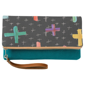 Black Watercolor Colorful Cross Pattern Clutch