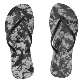 Black Watercolor on White Flip Flops