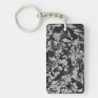 Black Watercolor on White Keychain