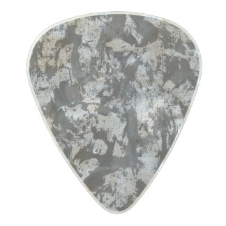 Black Watercolor on White Pearl Celluloid Guitar Pick