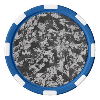 Black Watercolor on White Poker Chips