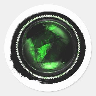 Black Wax Emerald Mystic Opal Crest Seal Round Sticker