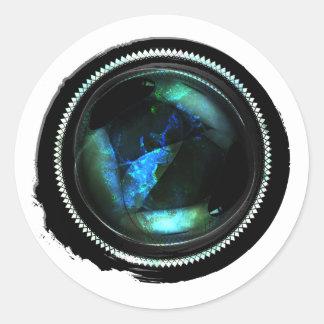 Black Wax Mystic Opal Crest Seal Round Sticker