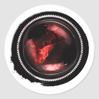 Black Wax Mystic Ruby Opal Crest Seal Round Sticker