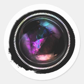 Black Wax Mystic Topaz Opal Crest Seal Round Sticker