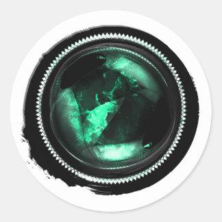 Black Wax Mystic Turquoise Opal Crest Seal Round Sticker