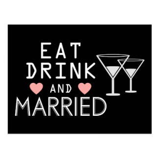 Black Wedding Announcement Eat Drink & Be Married Postcard