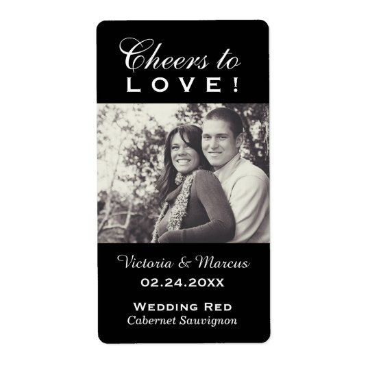 Black Wedding Photo Wine Bottle Favour Labels
