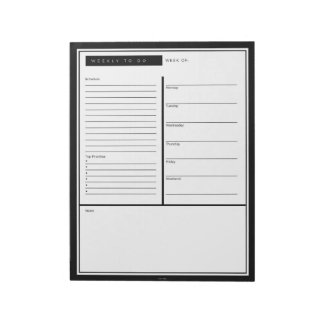 Black Weekly To Do List Notepads