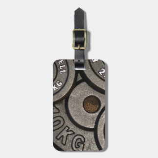 Black Weight Plates - Weightlifting Print Luggage Tag
