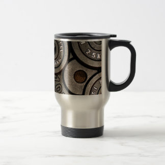 Black Weight Plates - Weightlifting Print Travel Mug