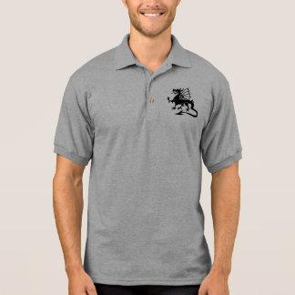 Black Welsh Dragon Silhouette Polo Shirt