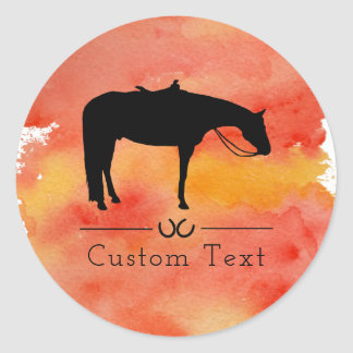 Black Western Horse Silhouette on Watercolor Classic Round Sticker