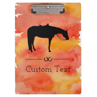 Black Western Horse Silhouette on Watercolor Clipboard