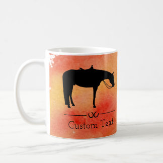 Black Western Horse Silhouette on Watercolor Coffee Mug