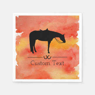 Black Western Horse Silhouette on Watercolor Disposable Napkins