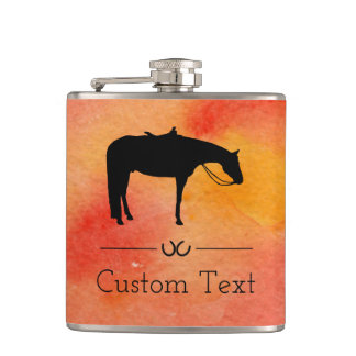 Black Western Horse Silhouette on Watercolor Hip Flask