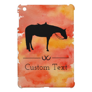 Black Western Horse Silhouette on Watercolor iPad Mini Case