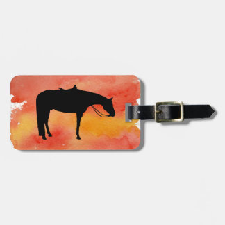 Black Western Horse Silhouette on Watercolor Luggage Tag