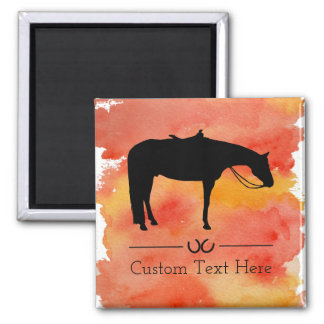Black Western Horse Silhouette on Watercolor Magnet
