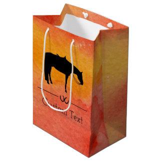 Black Western Horse Silhouette on Watercolor Medium Gift Bag