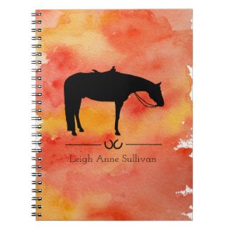 Black Western Horse Silhouette on Watercolor Notebooks