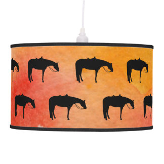 Black Western Horse Silhouette on Watercolor Pendant Lamp