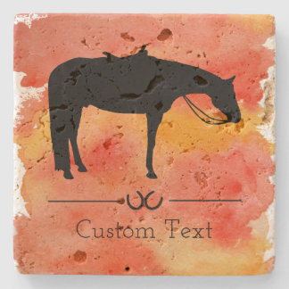 Black Western Horse Silhouette on Watercolor Stone Coaster