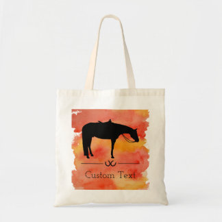 Black Western Horse Silhouette on Watercolor Tote Bag