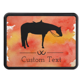 Black Western Horse Silhouette on Watercolor Trailer Hitch Cover