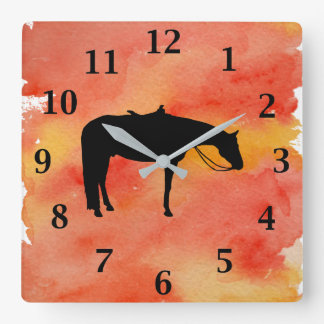 Black Western Horse Silhouette on Watercolor Wall Clocks
