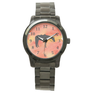 Black Western Horse Silhouette on Watercolor Watches