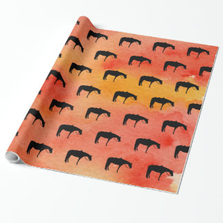 Black Western Horse Silhouette on Watercolor Wrapping Paper