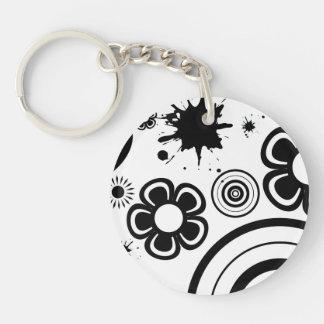 Black Whimsical Flowers, Circles, Splatter Pattern Keychain