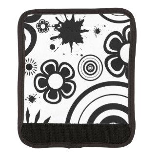 Black Whimsical Flowers, Circles, Splatter Pattern Luggage Handle Wrap