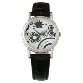 Black Whimsical Flowers, Circles, Splatter Pattern Wrist Watches