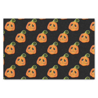 Black Whimsical Smiley Pumpkin Halloween Custom Tissue Paper