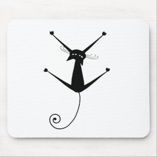 Black Whimsy Kitty 10 Mouse Pad