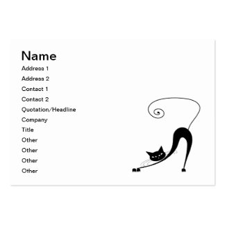 Black Whimsy Kitty 2 Business Card Templates