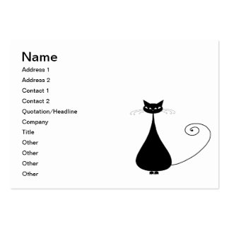 Black Whimsy Kitty 4 Large Business Card