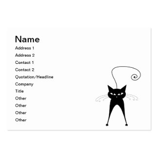 Black Whimsy Kitty 6 Business Card Templates