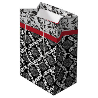 Black & White 2 Damasks Combo pattern Medium Gift Bag