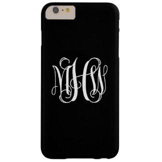 Black White 3 Initials Vine Script Monogram Barely There iPhone 6 Plus Case