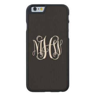 Black White 3 Initials Vine Script Monogram Carved® Maple iPhone 6 Slim Case