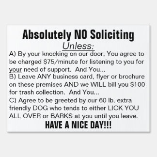 Black White Absolutely No Soliciting Sign