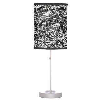 black white abstract_art pattern table lamp