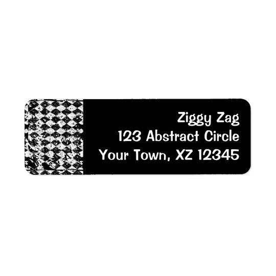 Black & White Abstract Diamonds Return Address Label