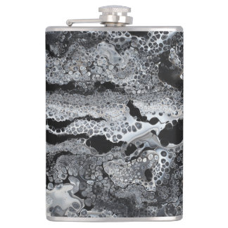 "Black & White Abstract Flask - ""Cray Cray"""