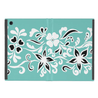 Black & white abstract flower drawing on teal iPad mini cases