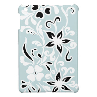Black & white abstract flower pattern on teal iPad mini cover